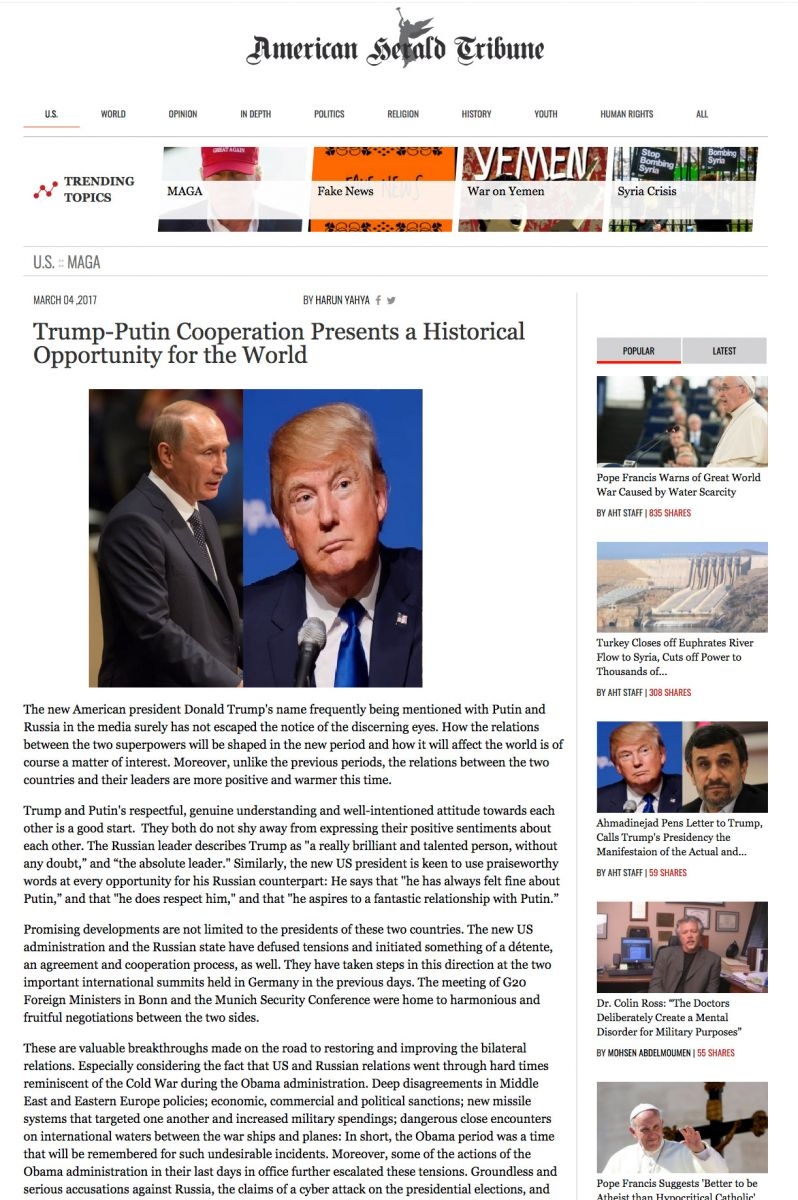 Trump-Putin İşbirliği Dünya İçin Tarihi Bir Fırsat