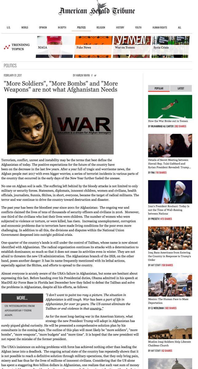 """Afganistan'ın İhtiyacı """"Daha Fazla Asker"""", """"Daha Fazla Bomba"""" ve """"Daha Fazla Silah"""" Değil"""