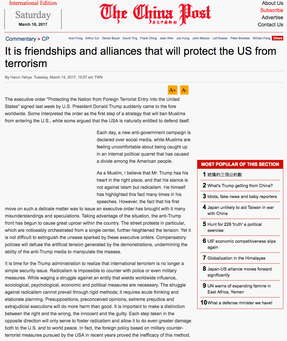 It is friendships and alliances that will protect the US from terrorism