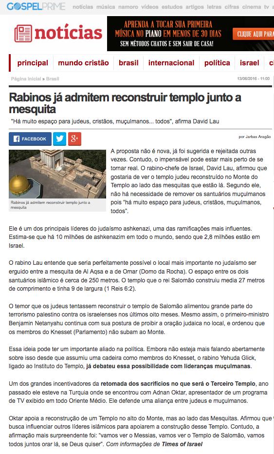 Adnan Oktar'ın Süleyman Mescidinin yeniden inşası konusundaki sözleri Brezilya Basınında