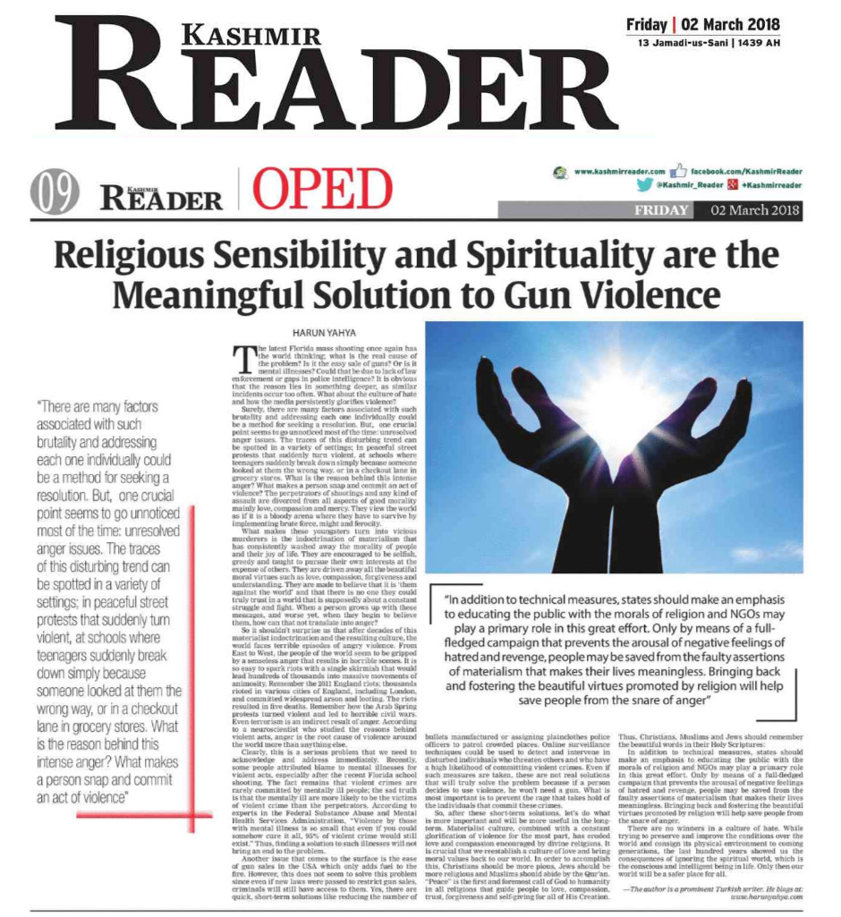 kashmir reader_adnan_oktar_religious_sensibility_and_spirituality_are_the_meaningful_solution_to_gun_violence