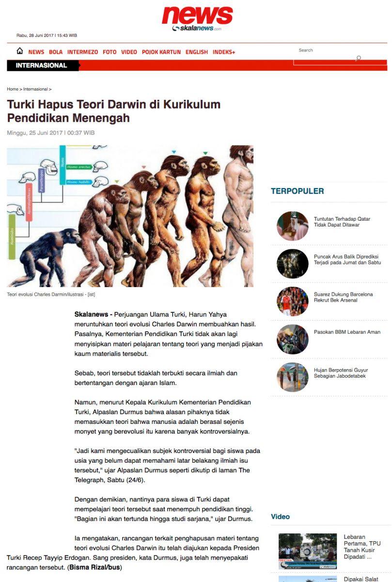Adnan Oktar'ın Darwinizmi çürüten bilimsel kitapları  Endonezya Basınında